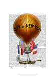 City of New York Hot Air Balloon Posters by  Fab Funky
