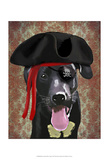 Black Labrador Pirate Dog Print by  Fab Funky