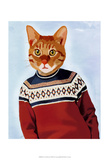 Cat in Ski Sweater Print by  Fab Funky