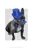 French Bulldog With Blue Top Hat and Moustache Posters by  Fab Funky