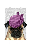 Pug with Vintage Purple Hat Prints by  Fab Funky