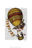 Hot Air Balloon Gold with Flags Art by  Fab Funky