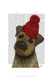 Border Terrier with Red Bobble Hat Posters by  Fab Funky