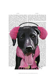 Black Labrador With Ear Muffs Posters by  Fab Funky