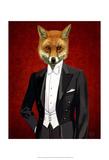 Fox In Evening Suit Portrait Art by  Fab Funky