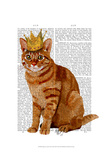 Ginger Cat with Crown Full Print by  Fab Funky