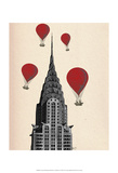 Chrysler Building and Red Hot Air Balloons Posters by  Fab Funky
