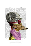 Greyhound in 16th Century Hat Art by  Fab Funky