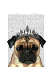 Pug With Tiara Prints by  Fab Funky
