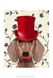 Dachshund With Red Top Hat Prints by  Fab Funky