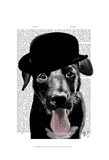 Black Labrador in Bowler Hat Prints by  Fab Funky