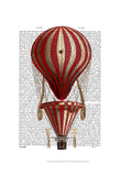 Tiered Hot Air Balloon Print Red Prints by  Fab Funky