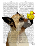 German Shepherd Dog and Duck Art by  Fab Funky
