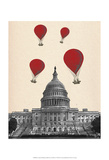 US Capitol Building and Red Hot Air Balloons Print by  Fab Funky