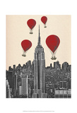 Empire State Building and Red Hot Air Balloons Prints by  Fab Funky