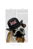 British Bulldog and Bowler Hat Print by  Fab Funky