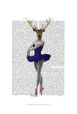 Ballet Deer in Blue Posters by  Fab Funky