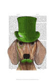 Dachshund With Green Top Hat and Moustache Prints by  Fab Funky