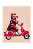 Sock Monkey on Red Moped Sztuka autor Fab Funky