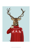 Deer in Ski Sweater Art by  Fab Funky
