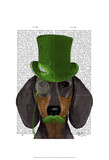 Dachshund with Green Top Hat Black Tan Poster by  Fab Funky