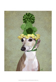 Greyhound in Green Knitted Hat Print by  Fab Funky