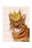 Ginger Cat with Crown Portrait Poster by  Fab Funky