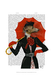 Elegant Greyhound and Red Umbrella Posters by  Fab Funky