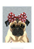 Pug with Red Spotty Bow On Head Print by  Fab Funky