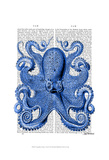 Vintage Blue Octopus 1 Front Poster by  Fab Funky