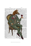 Wine Taster Fox Full Print by  Fab Funky