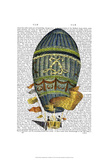 Blue Cylindrical Hot Air Balloon Print by  Fab Funky