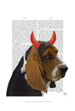 Basset Hound and Devil Horns Prints by  Fab Funky