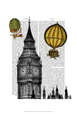 Big Ben and Vintage Hot Air Balloons Print by  Fab Funky