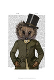 Hedgehog Rider Portrait Poster by  Fab Funky