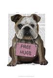 Bulldog Free Hugs Art by  Fab Funky
