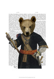 Bear in Blue Robes Prints by  Fab Funky