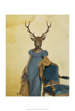 Deer In Blue Dress Posters by  Fab Funky