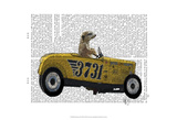 Meerkat in Hot Rod Poster by  Fab Funky