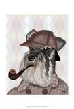 Schnauzer Sherlock Art by  Fab Funky