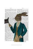 Hare In Turquoise Coat Prints by  Fab Funky