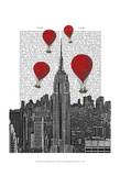 Empire State Building and Red Hot Air Balloons Posters by  Fab Funky