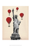 Statue Of Liberty and Red Hot Air Balloons Prints by  Fab Funky