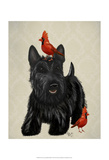 Scottie Dog and Red Birds Print by  Fab Funky