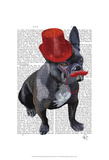 French Bulldog With Red Top Hat and Moustache Prints by  Fab Funky