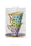 Stack Of Three Vintage Teacups Posters by  Fab Funky