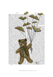 Bear with Book Butterflies Posters by  Fab Funky