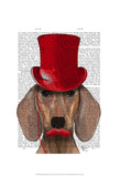 Dachshund With Red Top Hat and Moustache Poster by  Fab Funky