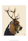 Basset Hound and Antlers Art by  Fab Funky