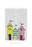 Beach Huts 1 Illustration Poster by  Fab Funky